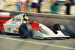 Senna won the 1992 Monaco Grand Prix in his McLaren MP4/7A.