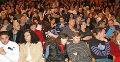 An audience in Tel Aviv, Israel waiting to see the Batsheva Dance Company