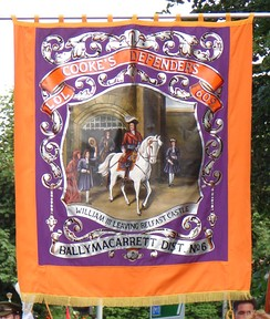 A modern Orange Banner representing the Cooke's Defenders Lodge 609, Ballymacarrett District number 6