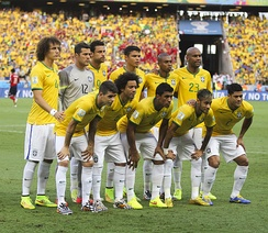 Brazil line up against Colombia at the 2014 FIFA World Cup. Neymar (front row, second from right) would play his last game at the tournament after being stretchered off with a fractured vertebra