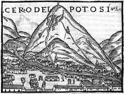 The silver-rich Cerro Rico in Potosí, Bolivia, was in colonial times an immense source of wealth for the Spanish administration.