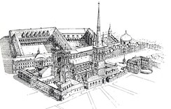 St. Lambert's Cathedral and the palace of the Prince-Bishops in 1770