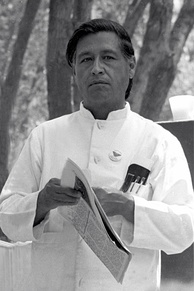 César Chávez at a United Farmworkers rally, 1974