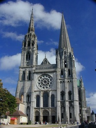 The government of a bishop is typically symbolized by a cathedral church, such as the bishops's see at Chartres Cathedral.