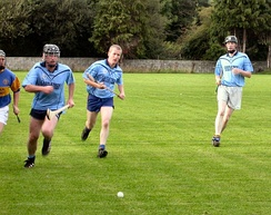 A club hurling match in play, before the helmet regulation