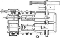 Cross compound engine, with an expansion valve (top) on the high-pressure cylinder
