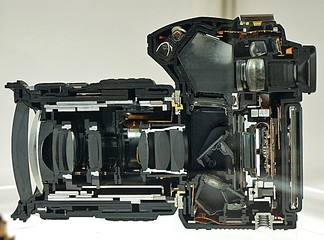 Cutaway of an Olympus E-30 DSLR (key: see above)