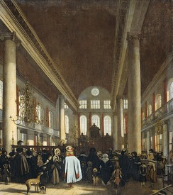 Interior of the Portuguese synagogue in Amsterdam, c. 1680
