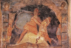 Mithras and the Bull: This fresco from the mithraeum at Marino, Italy (third century) shows the tauroctony and the celestial lining of Mithras' cape.