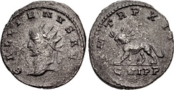 Antiochene coin of Gallienus 264–265, depicting a radiate lion on its reverse. The animal is probably a reference to Odaenathus who is described as a lion in the Thirteenth Sibylline Oracle