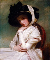 Emma Hamilton, Nelson's mistress and mother of his daughter Horatia, in a 1782–84 portrait by George Romney, depicting Emma at the height of her beauty (around age 17).