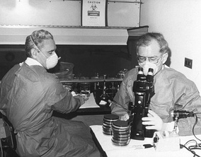 The advent of the microscope was one of the major developments in the history of pathology.  Here researchers at the Centers for Disease Control in 1978 examine cultures containing Legionella pneumophila, the pathogen responsible for Legionnaire's disease.