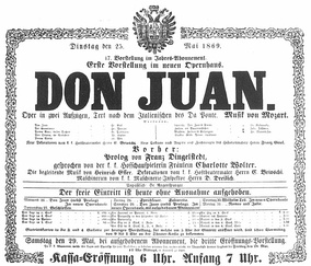 Play bill for the opening performance of the new Opernhaus, announcing the opening performance of Don Giovanni on 25 May 1869