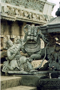 """Sala fighting the Lion"", the emblem of Hoysala Empire. Hoysala administration and architecture would influence Vijayanagara Empire, their political heir."