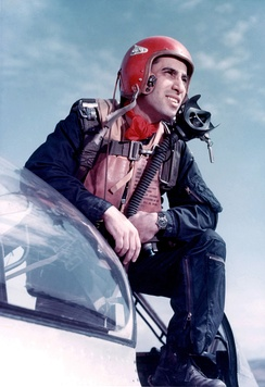 Jabara standing on his F-86 Sabre in April 1953