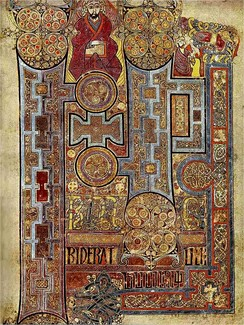 The Book of Kells, (folio 292r), c. 800, showing the lavishly decorated text that opens the Gospel of John