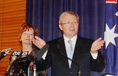 Julia Gillard (left) and Kevin Rudd deliver their first press conference as leaders of the Australian Labor Party, 4 December 2006. Rudd won the 2007 election and was replaced by Gillard in 2010.