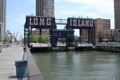 Gantry cranes in Gantry Plaza State Park on the Long Island City waterfront