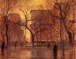 Madison Square Park After the Rainpainted by Paul Cornoyer (c.1900)