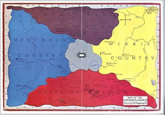 "Map of the land of Oz, the fictional realm that is the setting for L. Frank Baum's ""Oz"" series."