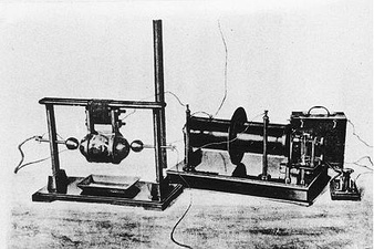 Guglielmo Marconi's spark gap transmitter, with which he performed the first experiments in practical radio communication in 1895-1897