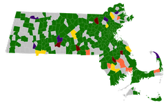 Town results of the Massachusetts Green presidential primaries, 2016.  Jill Stein   Sedinam Curry   Darryl Cherney   Kent Mesplay   William Kreml  No Votes