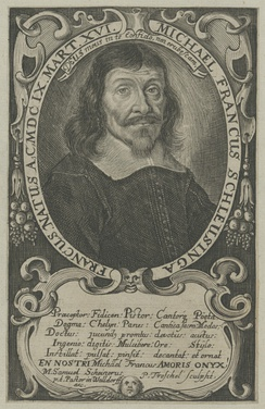 "Engraving of Franck c. 1660, with punning caption in Latin ""Michael Francus, born a freeman (francus) of Schleusingen in the year 1609 on March 16"""