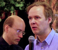 "David Axmark (left) and Michael ""Monty"" Widenius, founders of MySQL AB, in 2003"