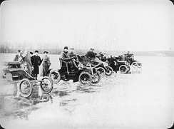 Automobile ice racing in the late 19th century.