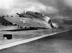 B-17C AAF S/N 40-2074 at Hickam Field: An onboard fire burnt the aircraft in two shortly after landing on 7 December 1941. One crewman was killed by a Zero attack.[110]