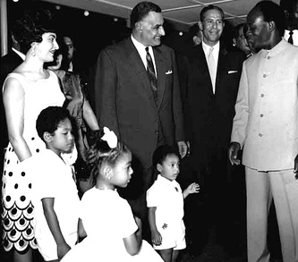 Nkrumah and his family meeting Egyptian President Gamal Abdel Nasser during the 1965 Organization of African Unity Summit in Accra.