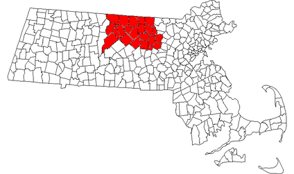 Map of Massachusetts with North County highlighted
