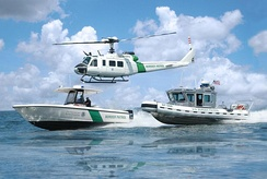 Border patrol at sea by the U.S. Customs and Border Protection
