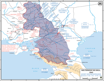 Soviet gains (shown in blue) during Operation Little Saturn