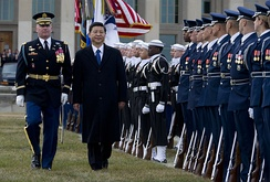 The United States Air Force Honor Guard is reviewed by Chinese Vice President Xi Jinping, during a Joint Services arrival ceremony at the Pentagon, 14 Feb. 2012.