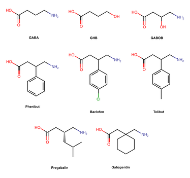 Chemical structures of phenibut and analogues.