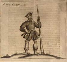 "An engraving of a Prussian warrior with a club, Christoph Hartknoch's 1684 book ""Old and New Prussia"" (Alt- und Neues Preussen)."