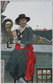 A painting of Captain Kidd with a red sash around his waist