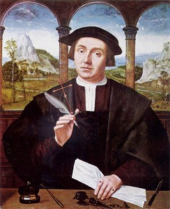 In civil law systems such as those of Italy, France, Germany, Spain and Greece, there is a distinct category of notary, a legally trained public official, compensated by the parties to a transaction.[151] This is a 16th-century painting of such a notary by Flemish painter Quentin Massys.