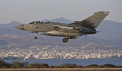A Tornado GR4 returns to RAF Akrotiri after the first airstrikes on 30 September 2014.