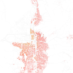 Map of racial distribution in Salt Lake City, 2010 U.S. Census. Each dot is 25 people: White, Black, Asian, Hispanic or Other (yellow)