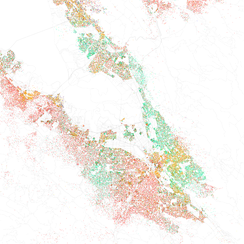 Map of racial distribution in the southern San Francisco Bay Area, 2010 U.S. Census. Each dot is 25 people: White, Black, Asian, Hispanic or Other (yellow)