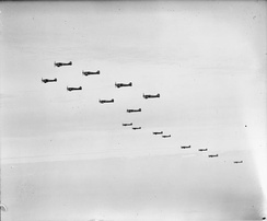 Formation of Tempest Mk Vs of No. 122 Wing returning to their base at B80/Volkel, the Netherlands