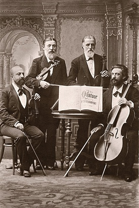 The String Quartet of the Russian Musical Society of Saint Petersburg in the 1880s; (left to right) Leopold Auer, Johann Wilhelm Zacharias Pickel, Hieronymus Weickmann, Aleksandr Verzhbilovich