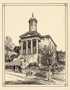 Plate etching of St George's Church, Brandon Hill, Bristol, UK, published before 1958. Viewed from the south, the image shows the church as it looked before the modern landscaping of its grounds.  In the foreground is a street scene with five people ascending the steps to the church.