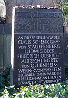 Memorial at the cemetery (Alter St.-Matthäus-Kirchhof, Berlin) where the corpses were buried but afterwards removed to an unknown place