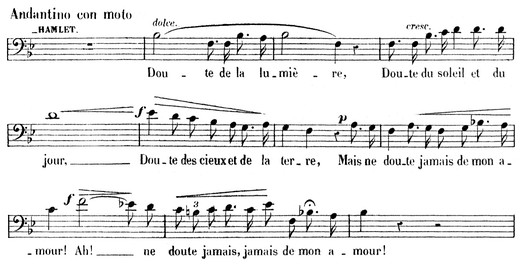 Theme of Hamlet's Love for Ophelia from act 1. (Piano-vocal score, p. 30)