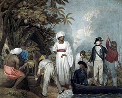 William Bligh overseeing the transplantation of breadfruit trees from Tahiti