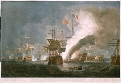 Battle of the Nile, August 1798. The British fleet bears down on the French line.