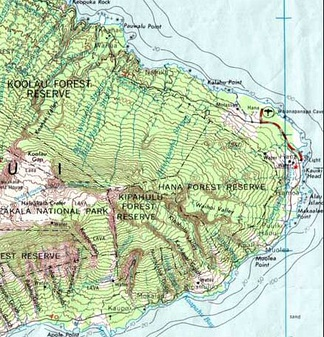 Part of a topographic map of Haleakala (Hawaii), showing elevation.